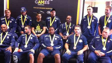 Team USA's sitting volleyball athletes during the post match press conference