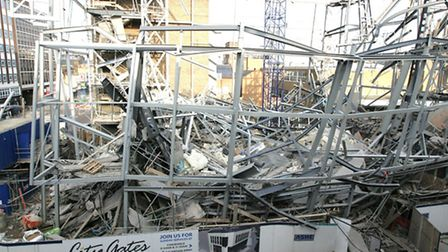 The collapsed City Gates Christian centre Clements Road, Ilford