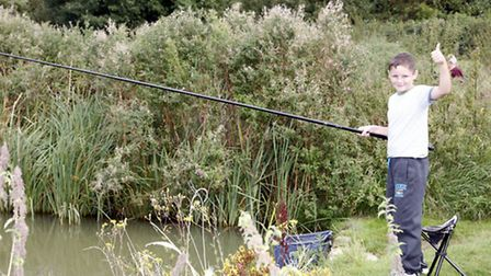 Jack Taylor, 10, enjoyed reeling in his catch of the day.