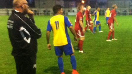 Romford boss Paul Martin looks on during his side's match at Brightlingsea Regent