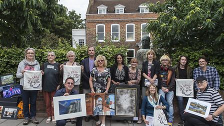 Local artists outside new trail venue the Manor House gastro pub, on Wanstead High Street. [Picture: