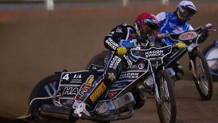 Lewis Bridger of Lakeside Hammers in action during heat four. Pic: Ray Lawrence/TGSPHOTO