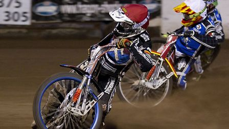 Davey Watt of Lakeside Hammers leads into the first corner of heat five. Pic: Ray Lawrence/TGSPHOTO