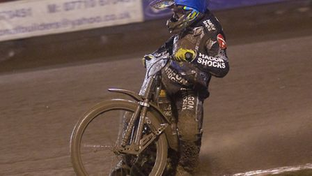 A gogglelessLewis Bridger of Lakeside Hammers in heat nine of their fixture with Poole Pirates last