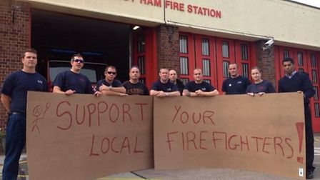 Firefighters on strike at East Ham Fire Station last year