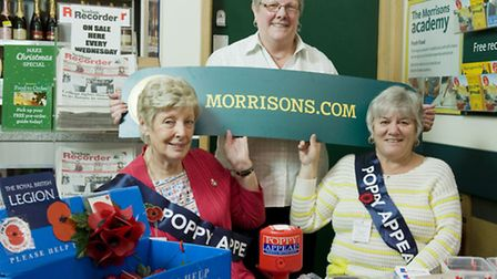 (L-R) Brenda Lawley, Pat Moyle & Betty Hill selling poppies in Morrisons Stratford (photo: Arnaud S