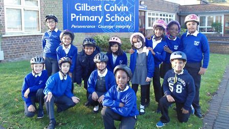Gilbert Colvin pupils on their cycle challenge. Picture: Gilbert Colvin Primary School
