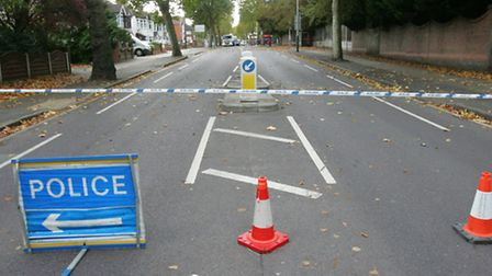 Main road was closed at the junction with Pettits lane