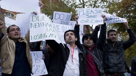 Protests outside the Old Town Hall in Stratford (photo: Arnaud Stephenson)