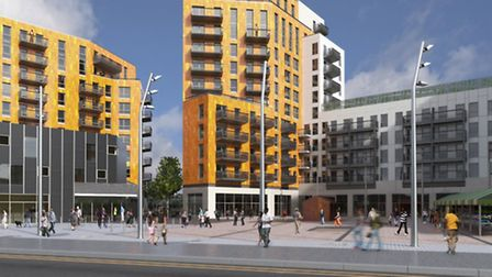 A computer-generated image of the phase two development from Barking Road