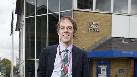 Councillor Russ Hatfull outside Ilford Police station where he is attending a briefing about prostit