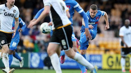 O's Dean Cox takes a shot on goal during their 3-0 defeat at Port Vale on Saturday.Pic: Simon O'Co