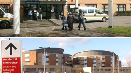 The two hospitals run by the trust: King George in Goodmayes (top) and Queen's in Romford (bottom)