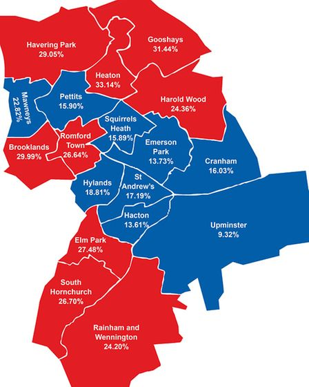 The percentage shows the proportion of children in each of the boroughs wards who are living in pov