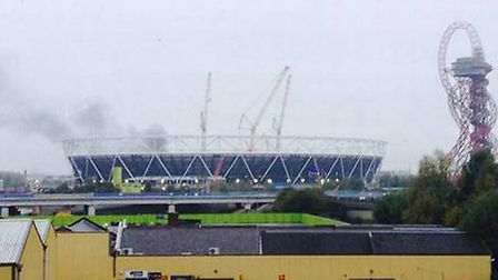 The fire broke out at the Olympic Stadium in Stratford (Pic: Adam Rivers / @GamblingEcon)