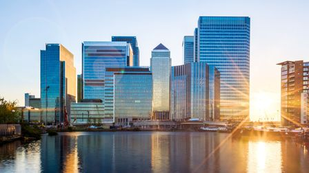 A picture of Canary Wharf at sunset