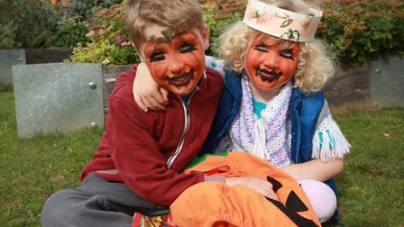 Tom Maurice-Williams, six, and sister Mary, four, at the pumpkin festival in Abbey Gardens