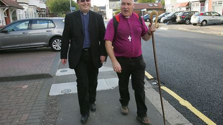Rev Jonathan Evens joins the Bishop of Chelmsford on his walk around Ilford