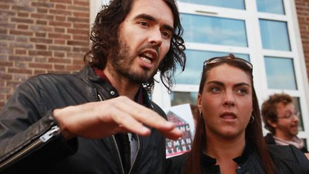 Comedian Russell Brand shows his support to Focus E15 campaigners outside Bow County Court. Picture: