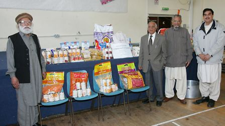 Bashir Chaudhry, Ali Younis, Mubarak Ali and Lal Gujar with the food collection
