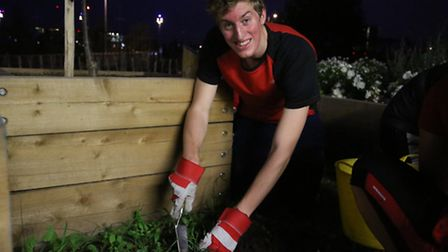 Reporter Freddy Mayhew gets stuck in weeding as part of the group's good deed