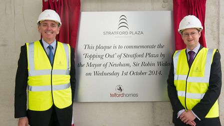 Newham Mayor Sir Robin Wales took part in the ceremony with Jon Di-Stefano, CEO of Telford Homes