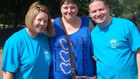 Marie Jones, Claire Waters midwifery systems manager at BHRUT, and Marie'�s husband Andrew Larkin. P