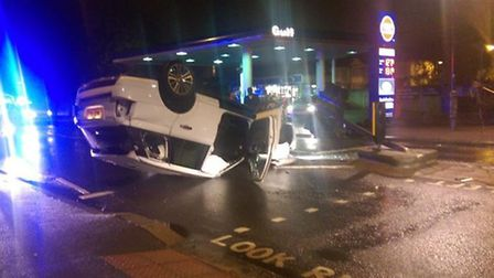 Amy Childs' overturned Range Rover which is believed to have cost £140,000 with the added cost of th
