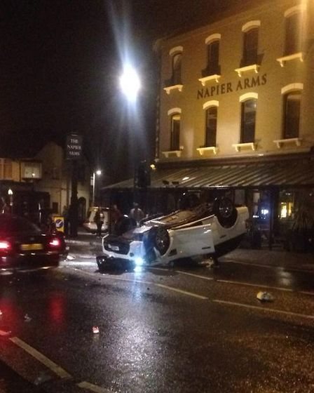Amy Childs' car is believed to have hit a lamp post, a LAS spokesman has said. Photo: Talhah Ali (@t