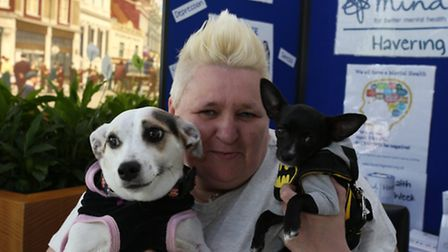 Service user Hazel Gibbons with her two dogs Chelsea and Zach. She has suffered mental health proble