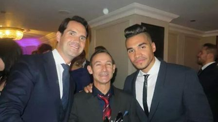 Ray Coe is pictured wth Jimmy Carr and gymnast Louis Smith at the Pride of Britain awards