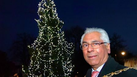 Wanstead Christmas Lights switch-on in 2012. Mayor Cllr Muhammed Javed.