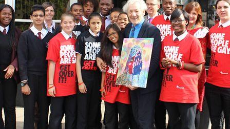 Sir Ian McKellen spent time with students at the school, discussing the impact of homophobic bullyin