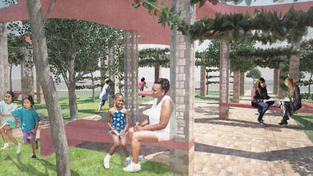 An artists impression of how the orchard at Mandeville Place, Queen Elizabeth Olympic Park, will loo