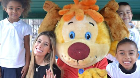 Gainsborough Primary School pupils Susy, Carlos and Shanay with Stacey Solomon and Pip from Pip Ahoy