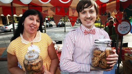 Adam Attew, of Adam the Pastryguy, and his mother Toni sell cakes at the vintage fair in The Grove,