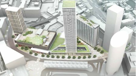 An aerial view of the designs for the redevelopment of Stratford Island