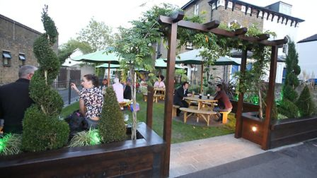 The pub garden in Woodford Green which has won an award in this year's Redbrdige in Bloom event