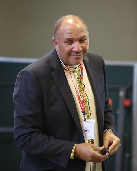 Nelson Mandela's former bodyguard Chris Lubbe talking to pupils at Mayespark Primary School