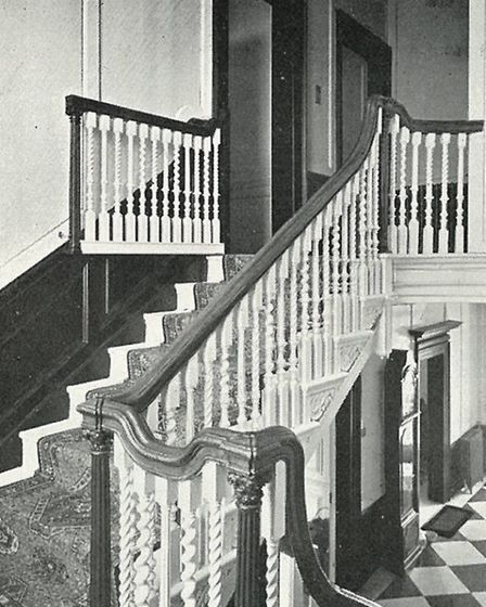Hurst House's oak central oak staircase in 1937. [Picture: Nicola Munday]