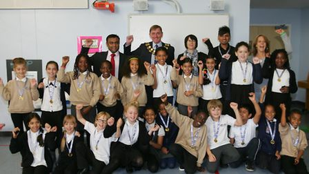 Kaizen Primary School pupils were presented with their medals by Newham Mayor Sir Robin Wales