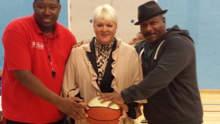 Ving Rhames, right, is pictured with Natasha Hart, NASSA director, and Chris Kelvin Facey, head coac