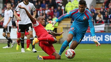 O's Jay Simpson sees his shot saved by Wes Foderingham. Pic: Simon O'Connor.