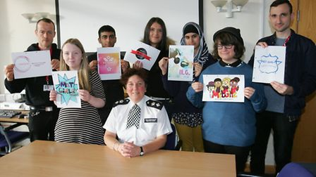 Borough commander Sue Williams with staff and students from Redbridge College