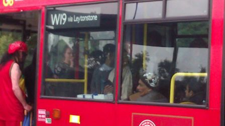 Commuters on the W19 bus