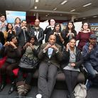 Newham Councillor Terrence Paul with memebers of the Deaf Club at their new location at Stratford Li