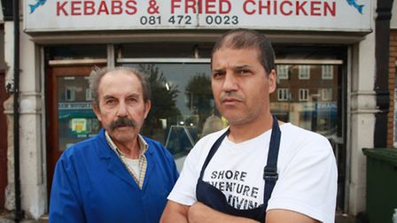 Ali Onay, right, and his father Veli are at risk of losing their family business, Paul's Fish Bar,
