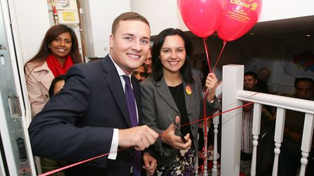 Labour'�s shadow cabinet member Caroline Flint MP in Gants Hill, cutting the ribbon on Ilford North