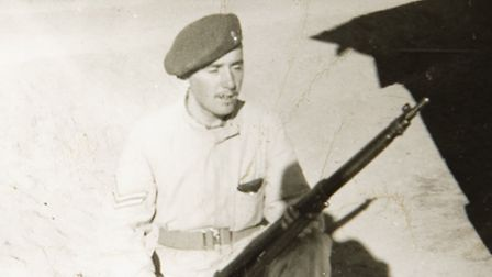 A photo of Bob Burroughs taken while serving in the Royal Artillery in North Africa & the Middle Eas