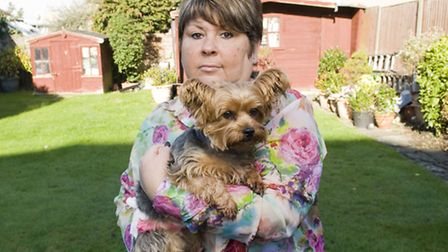 Karen Friddin and her yorkshire terrier Daisy who was attacked by a staffordshire bull terrier when